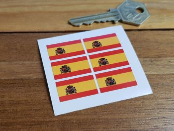 Spanish Spain Flag Small Coloured Stickers. Set of 6. 25mm.