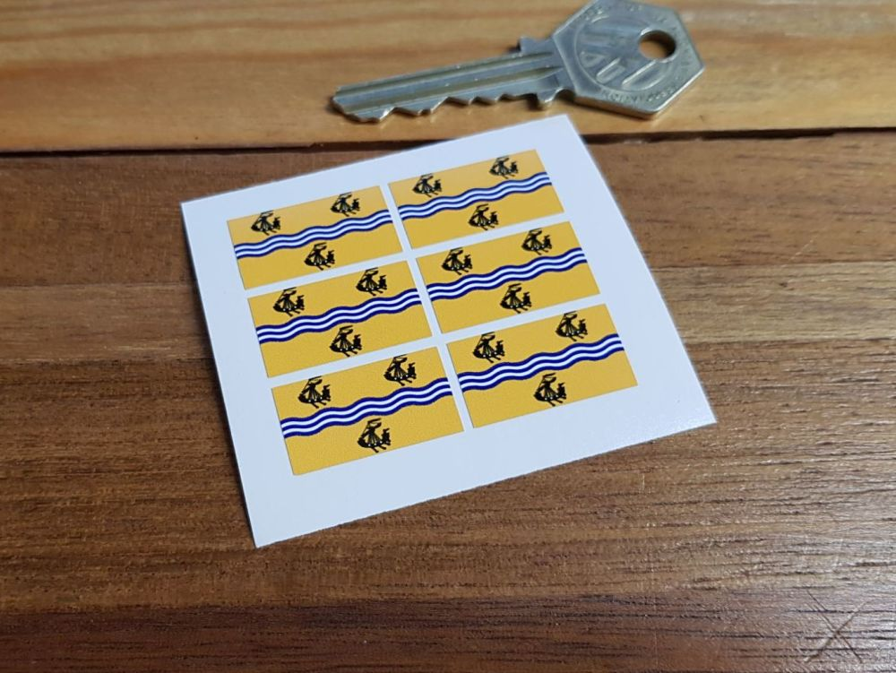 The Outer Hebrides Flag Small Coloured Stickers. Set of 6. 25mm.
