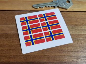 Orkney Islands Flag Small Coloured Stickers. Set of 6. 25mm.