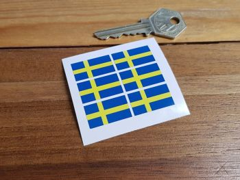 Sweden Swedish Flag Small Coloured Stickers. Set of 6. 25mm.