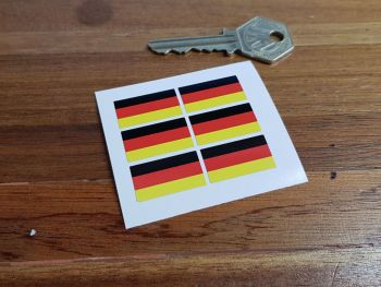 Germany German Flag Small Coloured Stickers. Set of 6. 25mm.