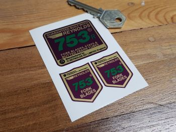 Reynolds 753 Purple Fork Blades, Stays & Butted Frame Tubes Stickers. Set of 3.
