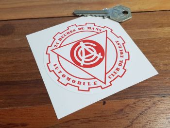 "ACO 24 Heures Du Mans Red & White Circular Sticker. 3.25""."