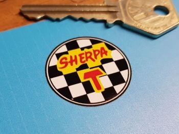 Bultaco Sherpa T Chequered Circular Sticker. 29mm.