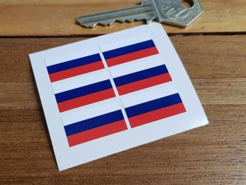 Russia Russian Flag Small Coloured Stickers. Set of 6. 25mm.