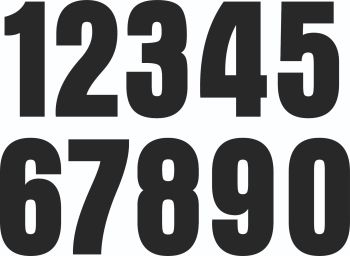 Cut Number Stickers. Aurora Font. 1 - 0. Set of 10. 50mm or 65mm Tall.