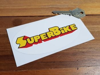 "SuperBike Oval Sticker. 4.75""."