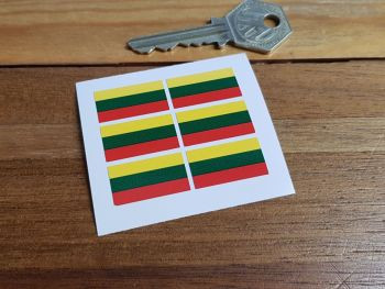 Lithuania Lithuanian Flag Small Coloured Stickers. Set of 6. 25mm.
