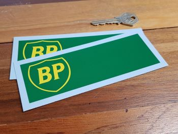 "BP Green & Yellow 90's Thin Style Oblong Stickers. 5.75"" Pair."