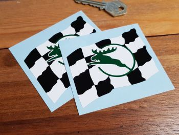 "Ferodo Leaping Stag Chequered Flag Stickers. 3.25"" Pair."