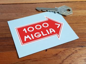 "Mille Miglia Directional Arrow with Coachline Sticker. 3""."
