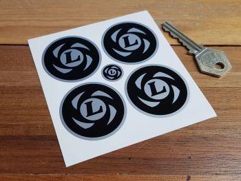 British Leyland Wheel Centre Stickers. Black & Silver Style. 45mm. Set of 4.