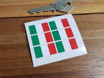Italian Flag Small Coloured Stickers. Set of 6. 25mm.