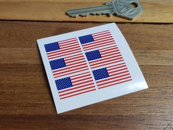 American Flag Small Coloured Stickers. Set of 6. 25mm.