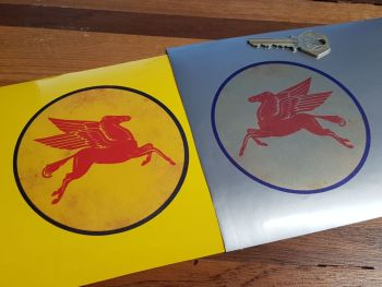 """Mobil Pegasus Circular Distressed on Clear Stickers. 4.25"""" Handed Pair."""