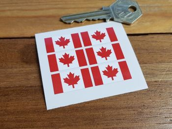 Canadian Flag Small Coloured Stickers. Set of 6. 25mm.