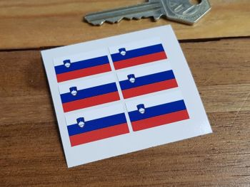 Slovenian Flag Small Coloured Stickers. Set of 6. 25mm.