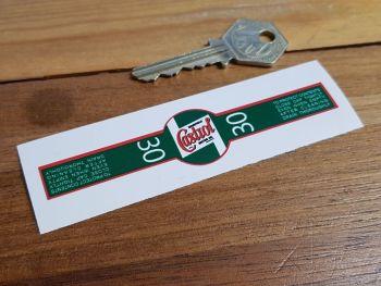 """Castrol 30 Oil Bottle Can Seal Sticker 4.25"""""""