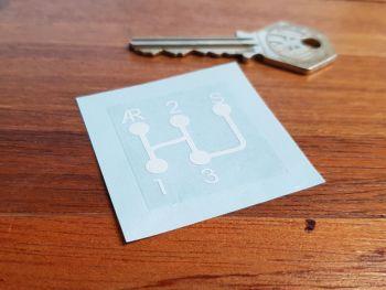 Gear Knob 3 Speed Sport Shift Sticker White & Clear 34mm