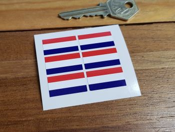 Netherlands Flag Small Coloured Stickers. Set of 6. 25mm.