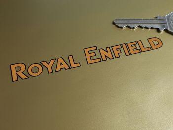 "Royal Enfield Black & Mustard Cut Vinyl Text Stickers. 4.25"" Pair."