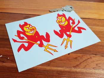 "Red Devil & Pitchfork Handed Stickers 4"" Pair"