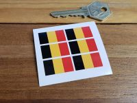 Belgian Flag Small Coloured Stickers. Set of 6. 25mm.
