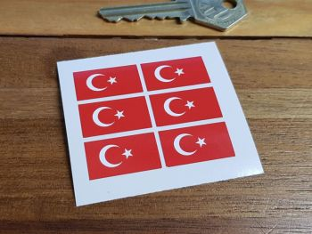 Turkey Flag Small Coloured Stickers. Set of 6. 25mm.