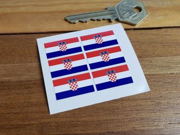Croatia Flag Small Coloured Stickers. Set of 6. 25mm.