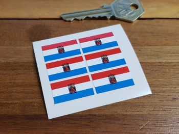 Luxembourg Flag Small Coloured Stickers. Set of 6. 25mm.