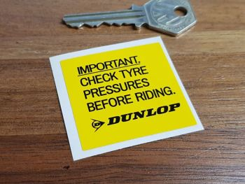 Dunlop Check Tyre Pressure Sticker 46mm
