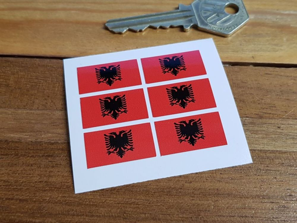 Albanian Flag Small Coloured Stickers. Set of 6. 25mm.