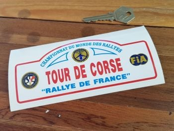 "Tour De Corse Rallye De France Rally Plate Style Sticker. 6""."