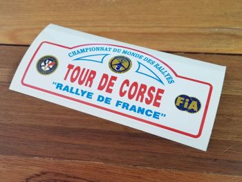 "Tour De Corse Rallye De France Rally Plate Style Sticker. 16""."