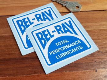 Bel-Ray Total Performance Lubricants Stickers. 70mm or 100mm Pair.