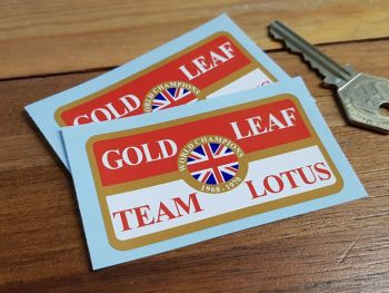 "Gold Leaf Team Lotus Stickers. 3"", 6"" or 7.5"" Pair."