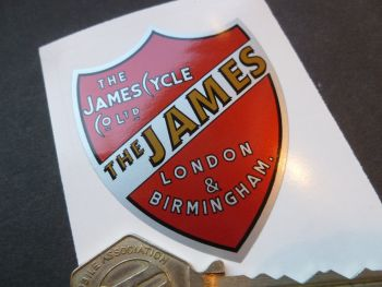 James Red Shield Shaped London and Birmingham Sticker. 61 x 50mm