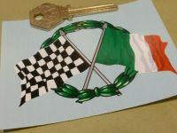 "Crossed Italian & Chequered Flag & Garland Sticker. 4""."