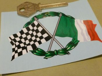 "Crossed Italian & Chequered Flag & Garland Sticker. 4""."