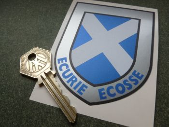"Ecurie Ecosse Scottish Saltire Silver Shield Premium Sticker. 3.5""."