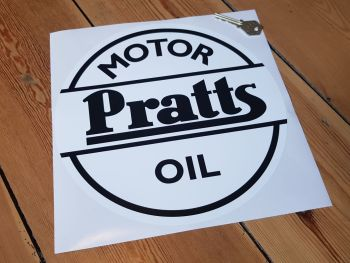 Pratts Motor Oil Black & White Sticker 10""