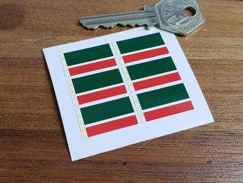 Chechnya Flag Small Coloured Stickers. Set of 6. 25mm.