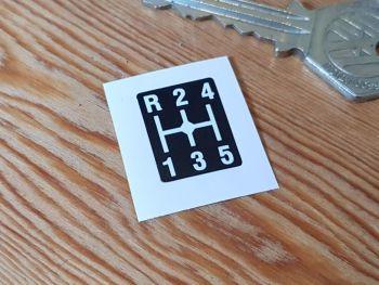 Gear Shift Lever Pattern Sticker - 5 Speed & Top Left Reverse - 20mm