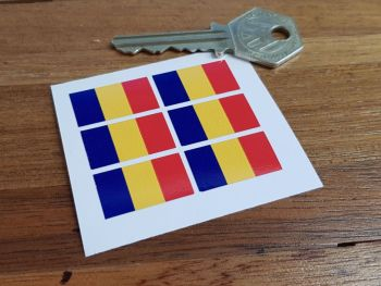Romania Flag Small Coloured Stickers. Set of 6. 25mm.