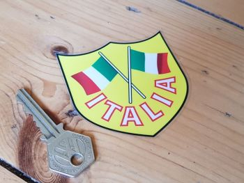 Italia Crossed Flag Shield Window Sticker 3""