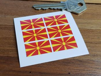North Macedonia Flag Small Coloured Stickers. Set of 6. 25mm.