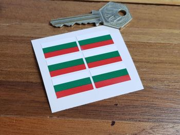 Bulgaria Flag Small Coloured Stickers. Set of 6. 25mm.