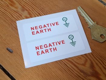 Negative Earth - Stickers 72mm x 26mm Pair