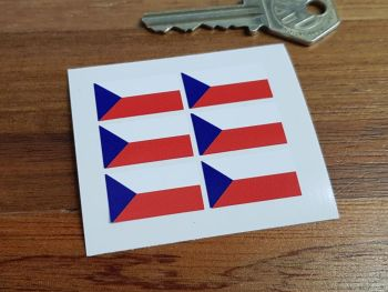 Czech Republic Flag Small Coloured Stickers. Set of 6. 25mm.