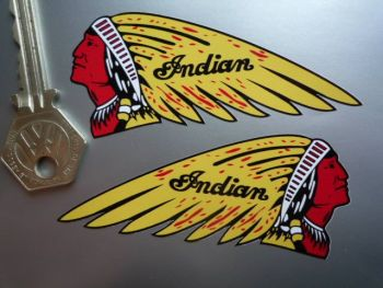 "Indian Chief's Head Stickers - Yellow - 4"" or 6"" Pair"